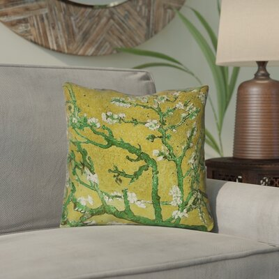 Lei Almond Blossom Outdoor Throw Pillow Color: Yellow/Green, Size: 18 x 18