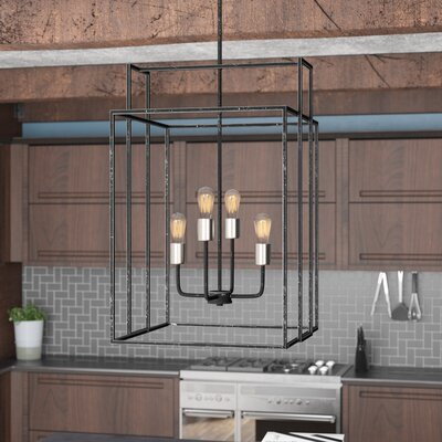 Jefferson 4-Light Geometric Pendant Finish: Iron Black/Brushed Nickel