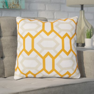 Appling the Diamonds Throw Pillow Size: 22 H x 22 W x 4 D, Color: White / Moth Beige / Tangerine, Filler: Polyester