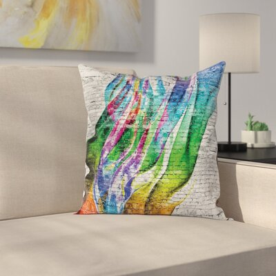 Abstract Art Colorful Retro Square Pillow Cover Size: 16 x 16