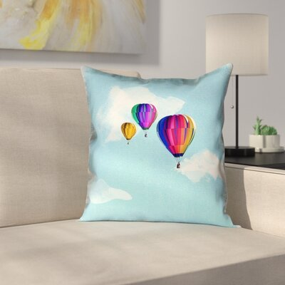 Hot Air Balloons Suede Pillow Cover Size: 16 x 16