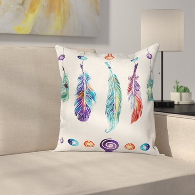 Bohemian Indian Feather Hippie Square Pillow Cover Size: 16 x 16