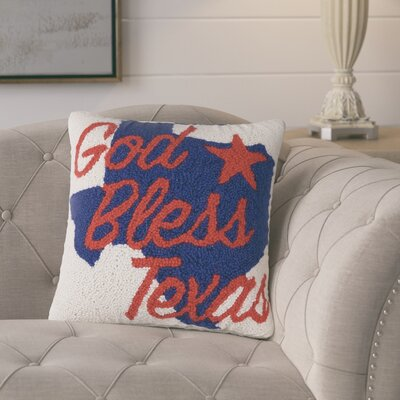 Arko God Bless Texas Hook Pillow Wool Throw Pillow