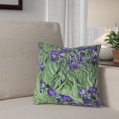 Morley Irises Double Sided Print Pillow Cover Color: Green/Purple, Size: 16 x 16