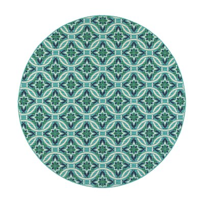 Lexington Medallion Turquoise Indoor/Outdoor Area Rug