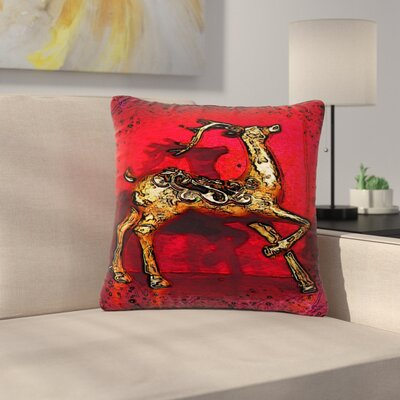 Anne LaBrie Dance Outdoor Throw Pillow Size: 16 H x 16 W x 5 D, Color: Red/Gold