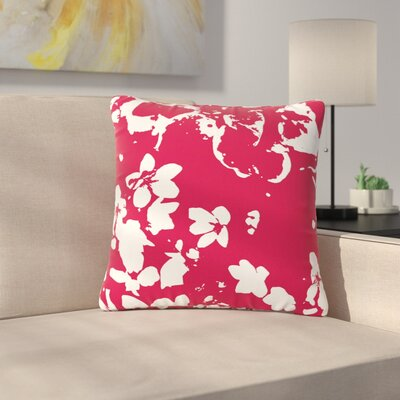 Love Midge Helena Floral Modern Outdoor Throw Pillow Size: 18 H x 18 W x 5 D, Color: Red/White