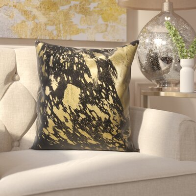 Surrey Leather Throw Pillow Color: Black Gold