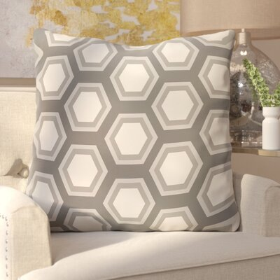 Agatha Geometric Print Outdoor Pillow Color: Steel Gray, Size: 16 H x 16 W x 1 D