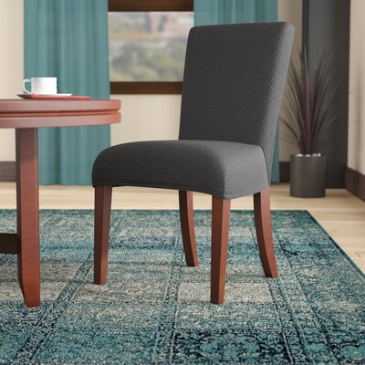 Stretch Polyester Dining Chair Slipcover Upholstery: Gray