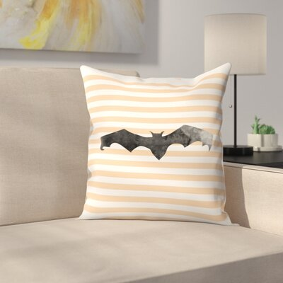 Jetty Printables Halloween Striped Bat Throw Pillow Size: 14 x 14