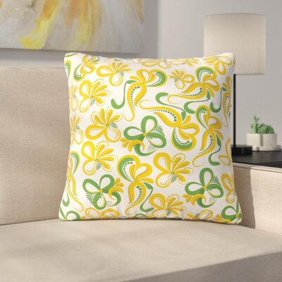 Flowers Throw Pillow Size: 16 H x 16 W x 6 D, Color: Yellow