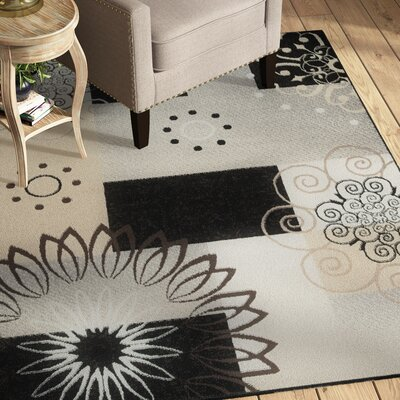 Chandler Gray/Gold/Black Area Rug Rug Size: Rectangle 52 x 73