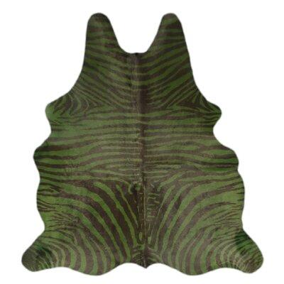 One-of-a-Kind Pankey Zebra Hand-Woven Cowhide Green/Black Area Rug