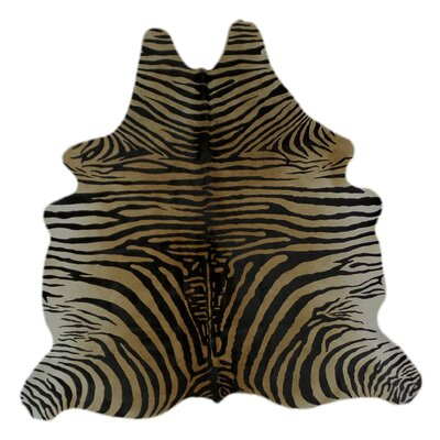 One-of-a-Kind Pante Macassar Zebra Hand-Woven Cowhide Caramel/Black Area Rug