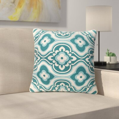 Murrin Blossom Cotton Throw Pillow Color: Teal/ White