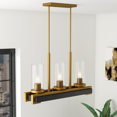 Dunigan Linear 3-Light Kitchen Island Pendant Finish: Aged Gold