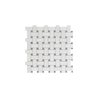 Thassos Basket Weave 1 x 2 Marble Mosaic Tile in White