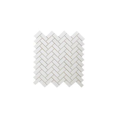 Thassos Herringbone 0.75 x 2 Marble Mosaic Tile in White