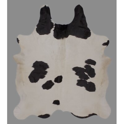 One-of-a-Kind Crawford Holando Hand-Woven Cowhide Black/White Area Rug