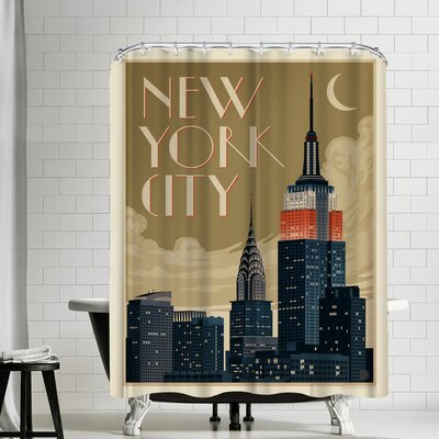 NYC Deco Skyline Shower Curtain