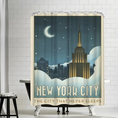 NYC Moon lit Clouds Shower Curtain