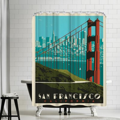 San Francisco Golden Gate Bridge Skyline Shower Curtain