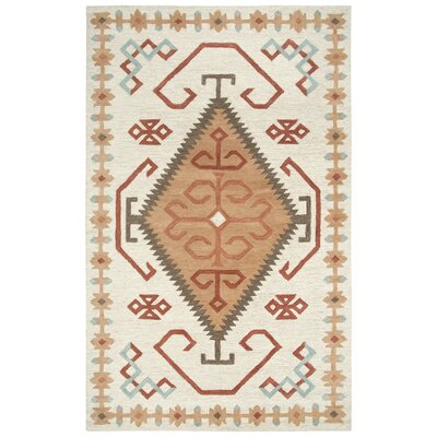 Potts Hand-Tufted Wool Ivory/Brown Area Rug Rug Size: Rectangle 5 x 8