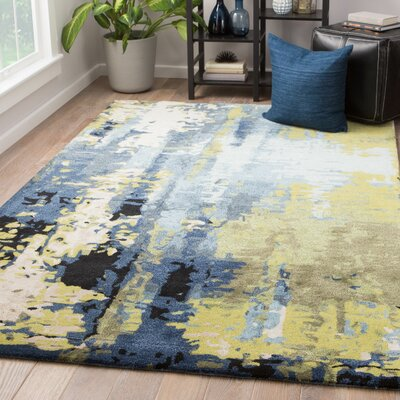 Fleishman Hand-Tufted Sky Gray/Green Banana Area Rug Rug Size: Rectangle 2 x 3