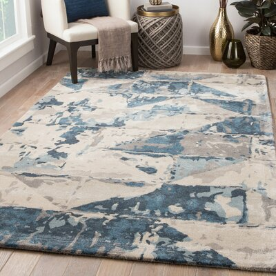Pangkal Pinang Hand-Tufted Tidal Foam/Real Teal Area Rug Rug Size: Rectangle 8 x 11