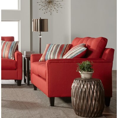 Longshore Loveseat Upholstery: Red