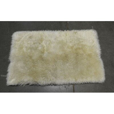 One-of-a-Kind Heiss Hand-Woven Sheepskin White Area Rug Rug Size: Rectangle 1.8 x 3