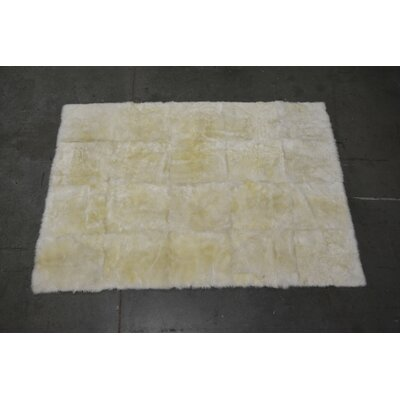One-of-a-kind Heiss Shearling Hand-Woven Sheepskin Beige Area Rug