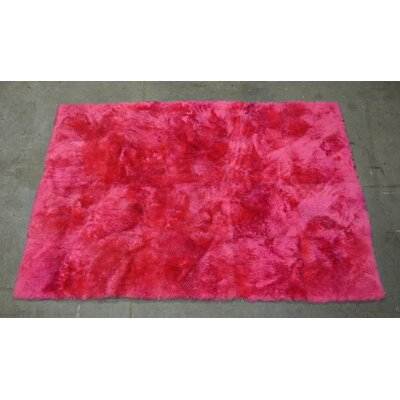 One-of-a-kind Heiss Shearling Hand-Woven Sheepskin Rose Area Rug Rug Size: Rectangle 5 x 7
