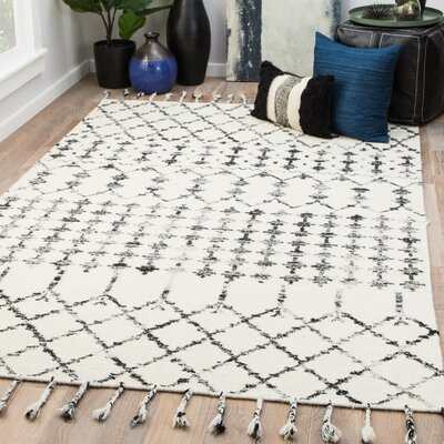Pardue Hand-Woven Turtledove/Jet Black Area Rug Rug Size: Rectangle 2 x 3