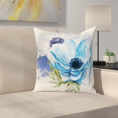 Anemone Rustic Blossoms Square Cushion Pillow Cover Size: 20 x 20