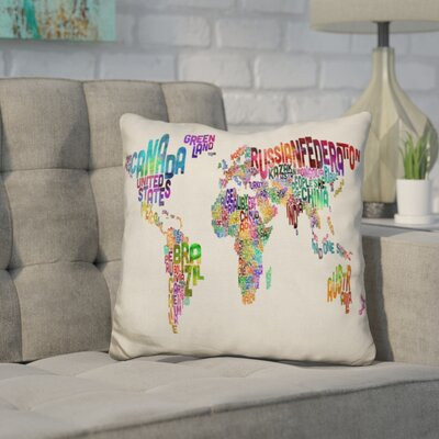 Harnish World Text Map Throw Pillow Color: Red