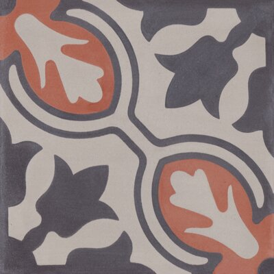 Lisbon 8 x 8 Cement Field Tile in Gray/Orange