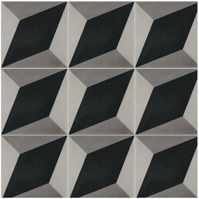 Large Cubes B 8 x 8 Cement Field Tile in Black/White