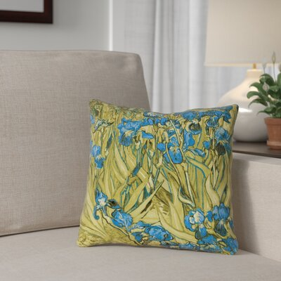 Bristol Woods Irises Square Pillow Cover Color: Yellow/Blue, Size: 18 x 18