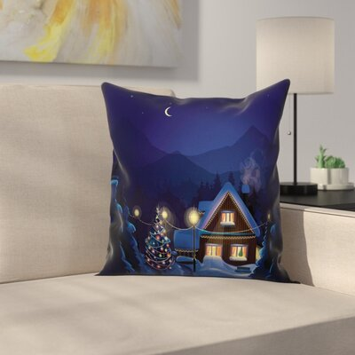 Christmas Winter Home and Tree Square Pillow Cover Size: 16 x 16