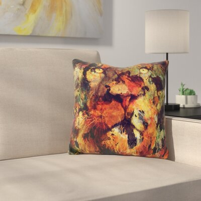 Martindale Watercolor Lion Throw Pillow