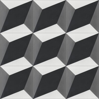 Large Cubes Excalibur 8 x 8 Cement Field Tile in Black/White