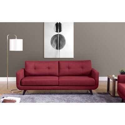 Samuel Mid-Modern Century Sofa Upholstery: Red