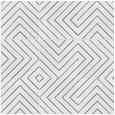 Labyrinth Misty 8 x 8 Cement Field Tile in Gray/White