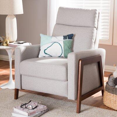 Chong Manual Recliner Upholstery: Light Gray