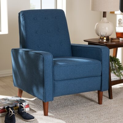 Chon Manual Recliner Upholstery: Blue