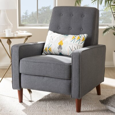 Chon Manual Recliner Upholstery: Dark Gray