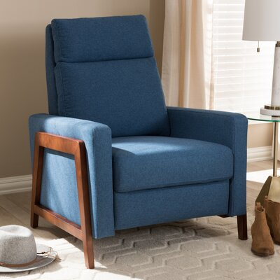 Chong Manual Recliner Upholstery: Blue