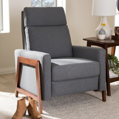 Chong Manual Recliner Upholstery: Dark Gray